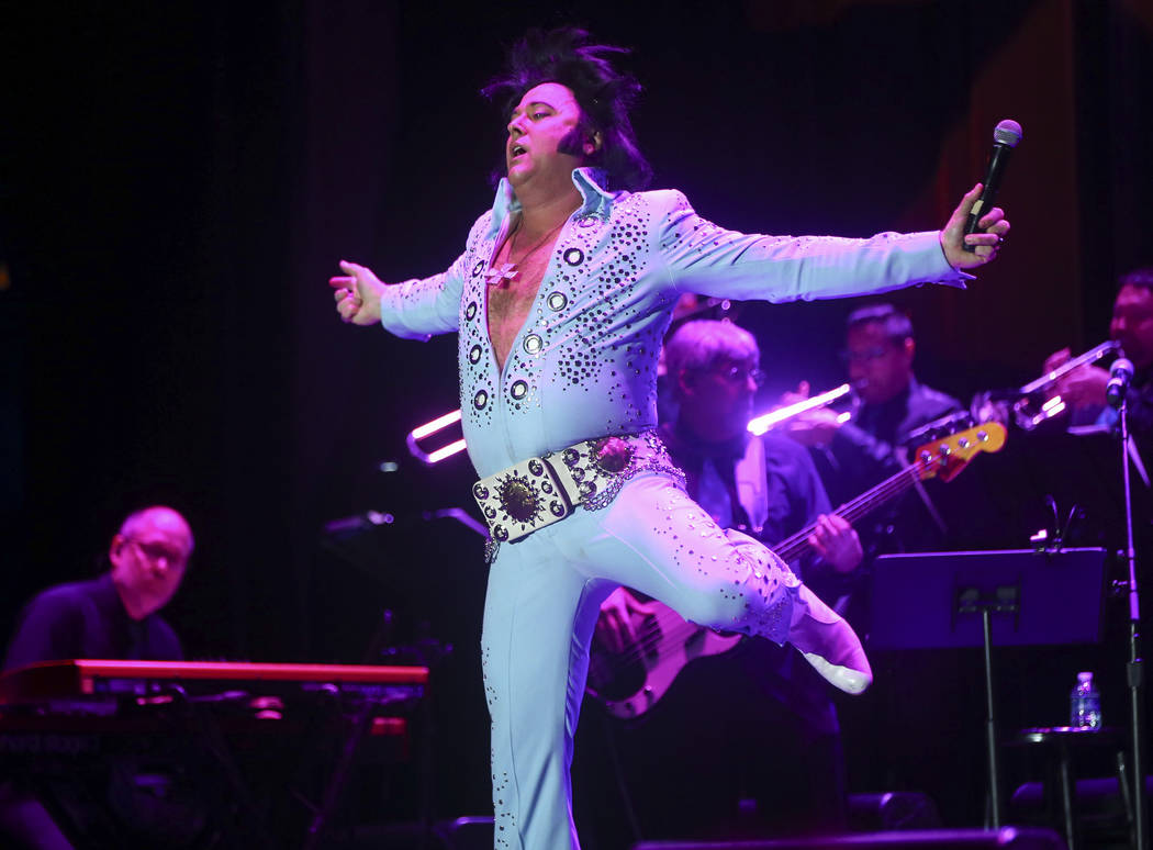 Elvis impersonator Jim Westover performs during the tribute artist contest at the Images of the King festival at Sam's Town in Las Vegas on Saturday, July 15, 2017. Chase Stevens Las Vegas Review- ...
