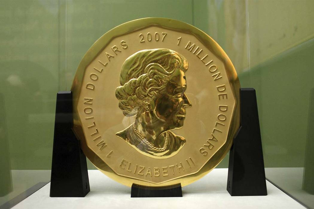 "The Dec. 8, 2010 photo shows the ""Big Maple Lea""' coin in the Bode Museum in Berlin. Special police units in Germany have raided several homes in Berlin on Wednesday, July 12, 2017, in connection  ..."