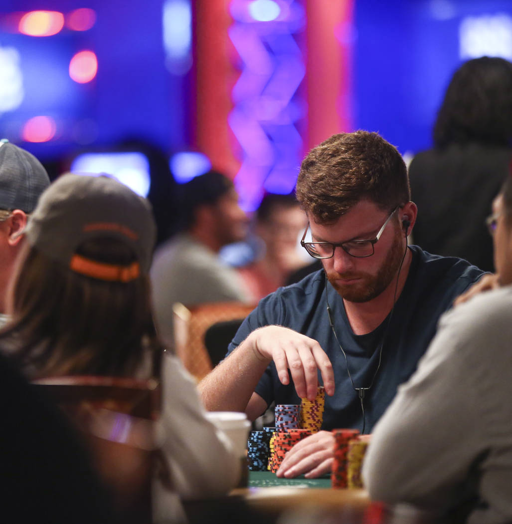 Nick Petrangelo looks at his chip stack while competing in the World Series of Pokerճ Main Event at the Rio Convention Center in Las Vegas on Thursday, July 13, 2017. Chase Stevens Las Vegas ...