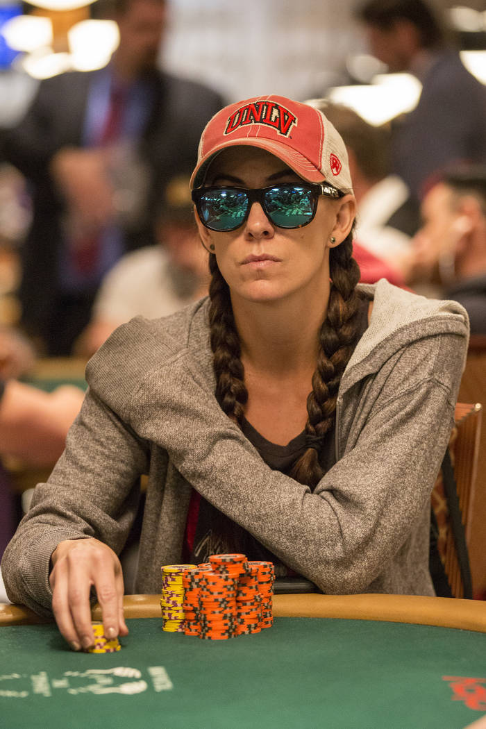 Las Vegas local poker professional Danielle Andersen, also known as Dmoongirl, plays in the World Series of Poker Main Event at the Rio Convention Center on Friday, July 14, 2017, in Las Vegas. Br ...