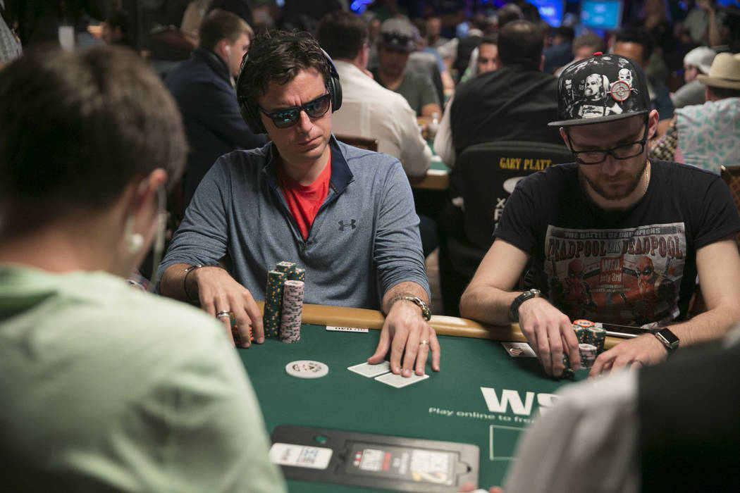 Richard Gryko (center) plays poker during day five of The World Series of Poker at The Rio All-Suite Hotel and Casino in Las Vegas, Saturday, July 15, 2017. Gabriella Angotti-Jones Las Vegas Revie ...