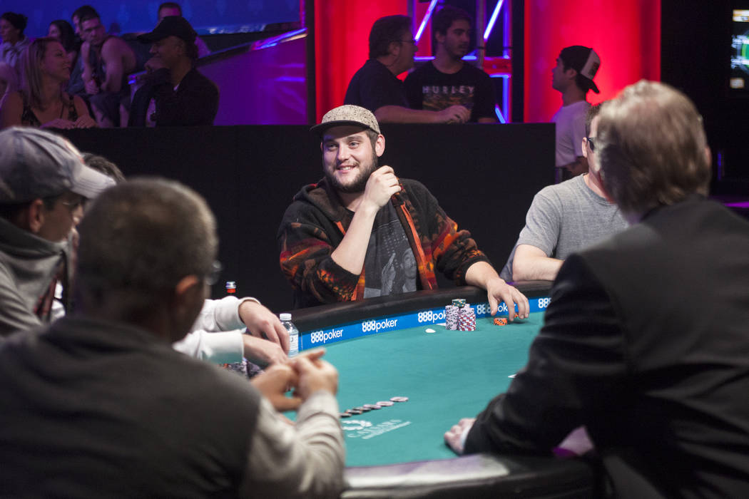 Bryan Piccioli, center, laughs between hands during day six of the World Series of Poker on Sunday, July 16, 2017, at the Rio hotel-casino in Las Vegas. Rachel Aston Las Vegas Review-Journal @rook ...