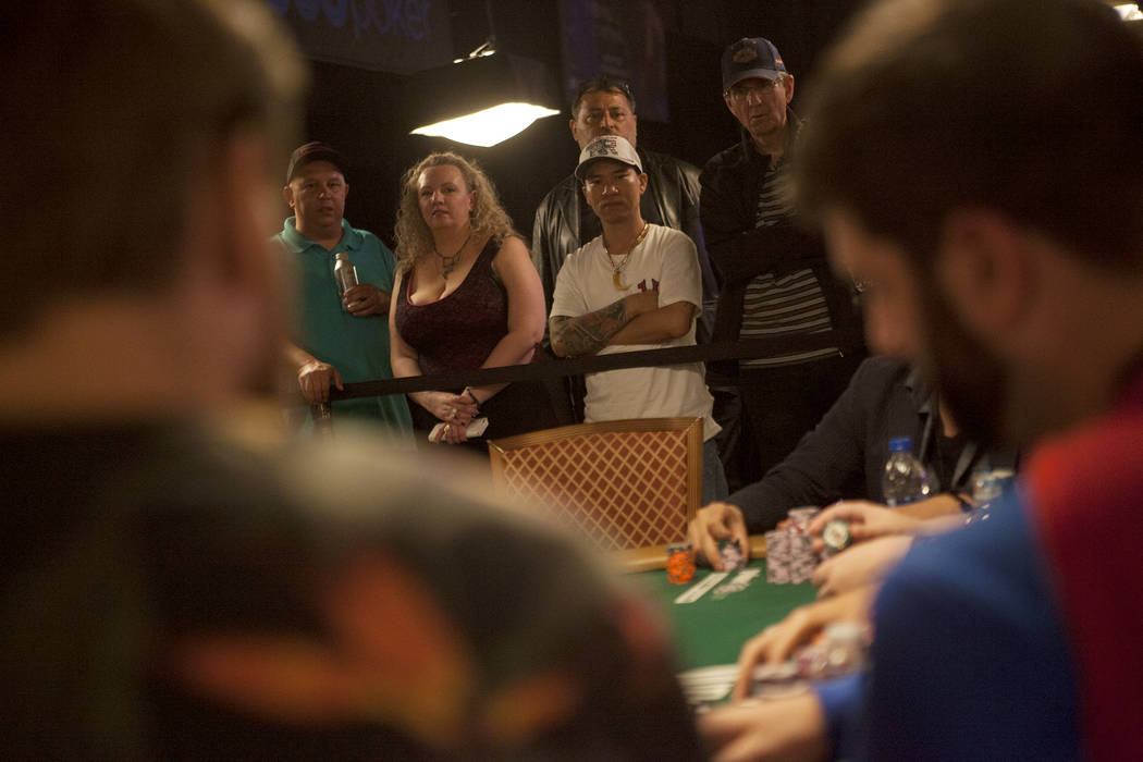 A crowd watches contestants play poker during day six of the World Series of Poker on Sunday, July 16, 2017, at the Rio hotel-casino in Las Vegas. Rachel Aston Las Vegas Review-Journal @rookie__rae