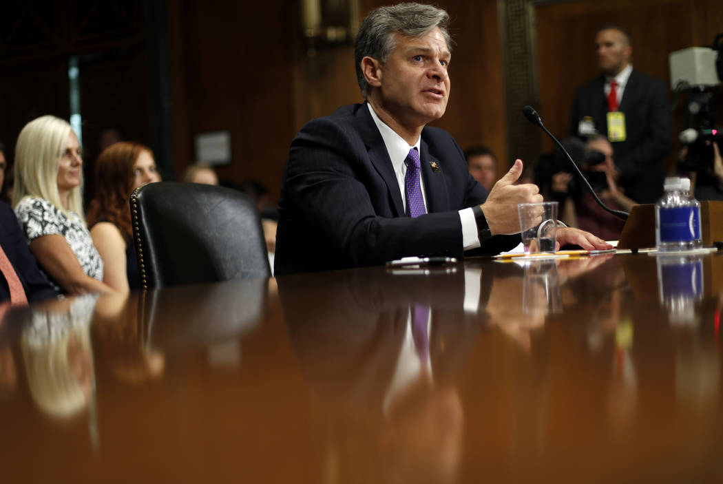FBI Director nominee Christopher Wray testifies on Capitol Hill in Washington, Wednesday, July 12, 2017, at his confirmation hearing before the Senate Judiciary Committee. (Pablo Martinez Monsivai ...