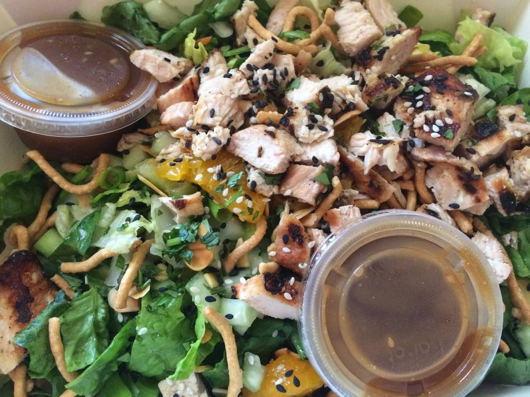 Krayvings' sesame chicken salad is topped with white meat, not thigh or drumstick.  (Jan Hogan/View)