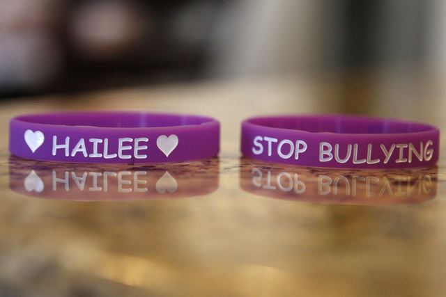 Wristbands designed in memory of Hailee Lamberth are seen at her family's home in Henderson Tuesday, Oct. 21, 2014. Jason Lamberth and his wife, Jennifer, filed a wrongful death lawsuit against th ...
