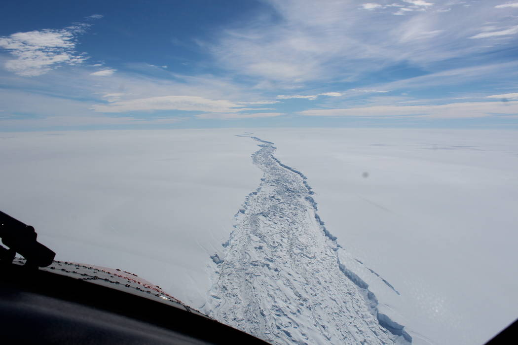 The Larsen C ice shelf in Antarctica in February 2017. A vast iceberg with twice the volume of Lake Erie has broken off from a key floating ice shelf in Antarctica, scientists said Wednesday, July ...