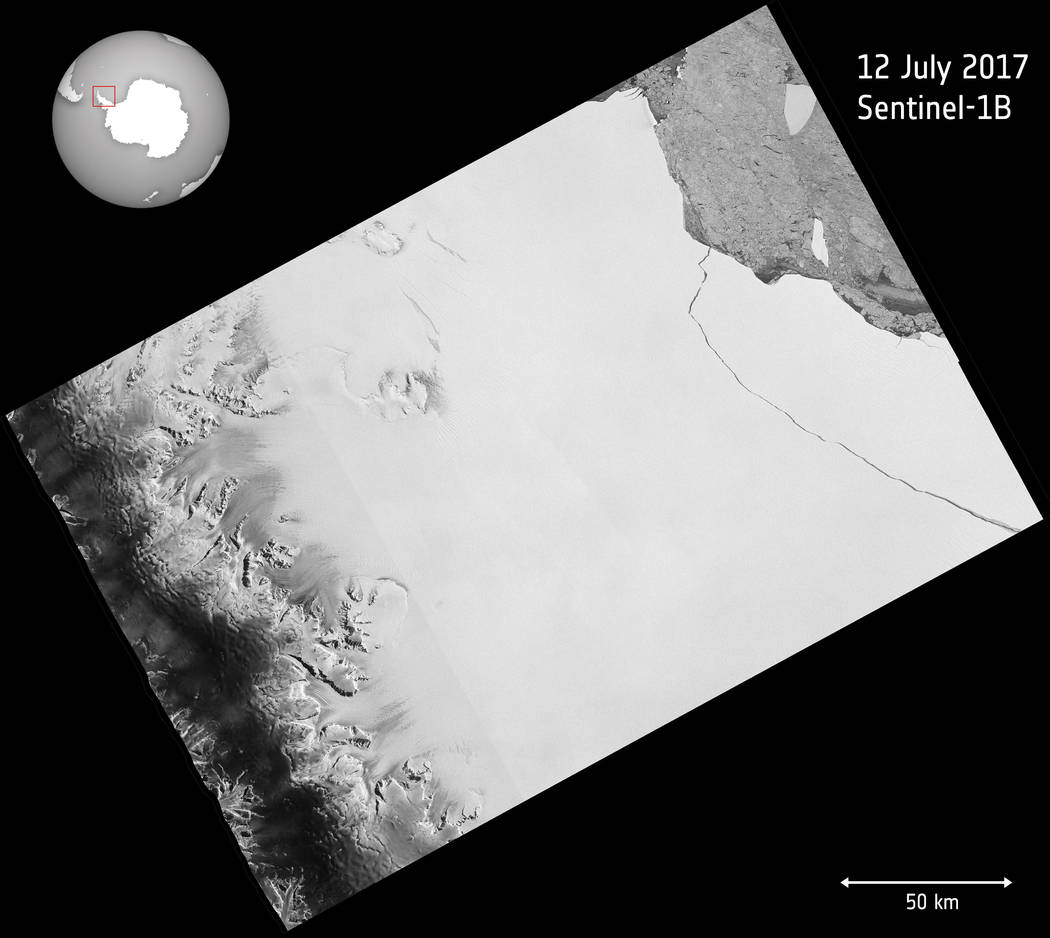 The image released by European Space Agency ESA shows a photo taken by the Copernicus Sentinel-1 mission on July 12, 2017, when a lump of ice more than twice the size of Luxembourg has broken off  ...