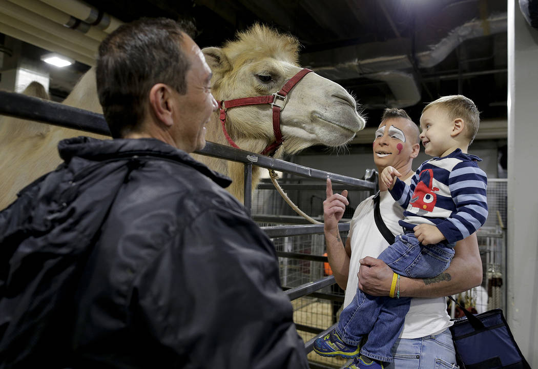 """Ringling Bros. boss clown Sandor Eke, center, holds his 2-year-old son Michael up to pet a camel before performing in a show, Friday, May 5, 2017, in Providence, R.I. """"When you're a circu ..."""