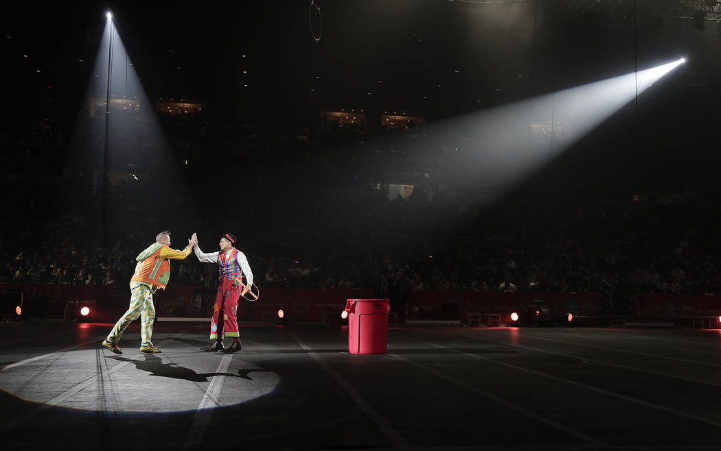 Ringling Bros. clowns Sandor Eke, left, and Ivan Skinfill perform during the intermission of a show, Saturday, May 6, 2017, in Providence, R.I. Knowing it's coming to an end has been diffic ...