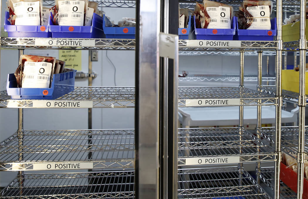 Empty blood shelves at United Blood Services on Tuesday, July 11, 2017, in Las Vegas. Bizuayehu Tesfaye Las Vegas Review-Journal @bizutesfaye