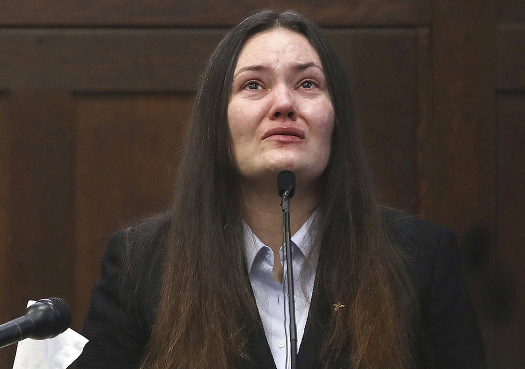Rachelle Bond testifies in Suffolk Superior Court in Boston in the case of her former boyfriend, Michael McCarthy, who later was convicted of killing Bond's 2-year-old daughter in 2015 on June 5,  ...