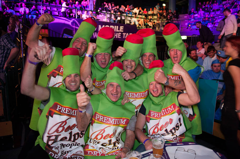 Fans have dressed as Hulk Hogan, Santa Clause and even Shrek. Some crowds have been known to sing and chant at PDC events. (Courtesy)