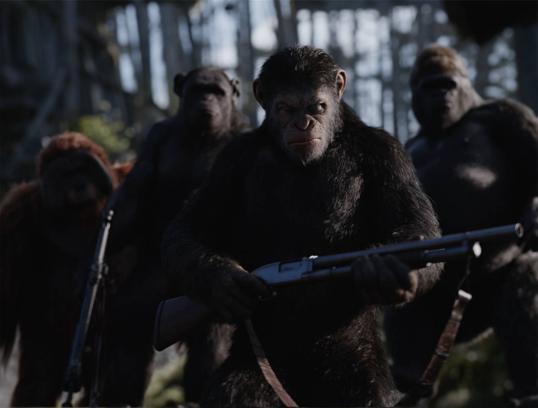 "From left, Maurice (Karin Konoval), Rocket (Terry Notary), Caesar (Andy Serkis) and Luca (Michael Adamthwaite) appear in a scene from ""War for the Planet of the Apes."" (Twentieth Century Fox)"