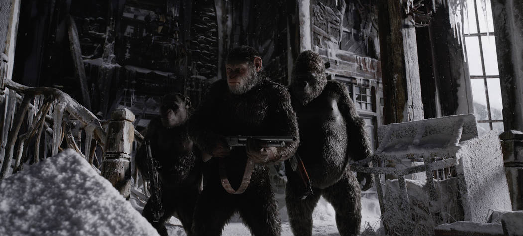 "From left, Rocket (Terry Notary), Caesar (Andy Serkis) and Luca (Michael Adamthwaite) appear in a scene from ""War for the Planet of the Apes."" (Twentieth Century Fox)"