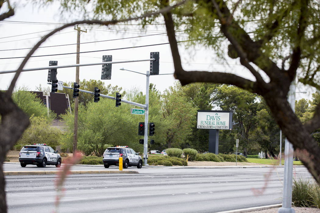 Las Vegas police respond to reports of a gunman at the Davis Funeral Home on Eastern Avenue and Patrick Lane, Sunday, July 9, 2017. (Elizabeth Brumley/Las Vegas Review-Journal)