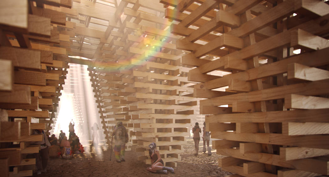 An artist rendering shows the interior of this year's Burning Man temple, which is being constructed out of trees killed by recent drought and beetle infestation in the forests of California. Niv  ...