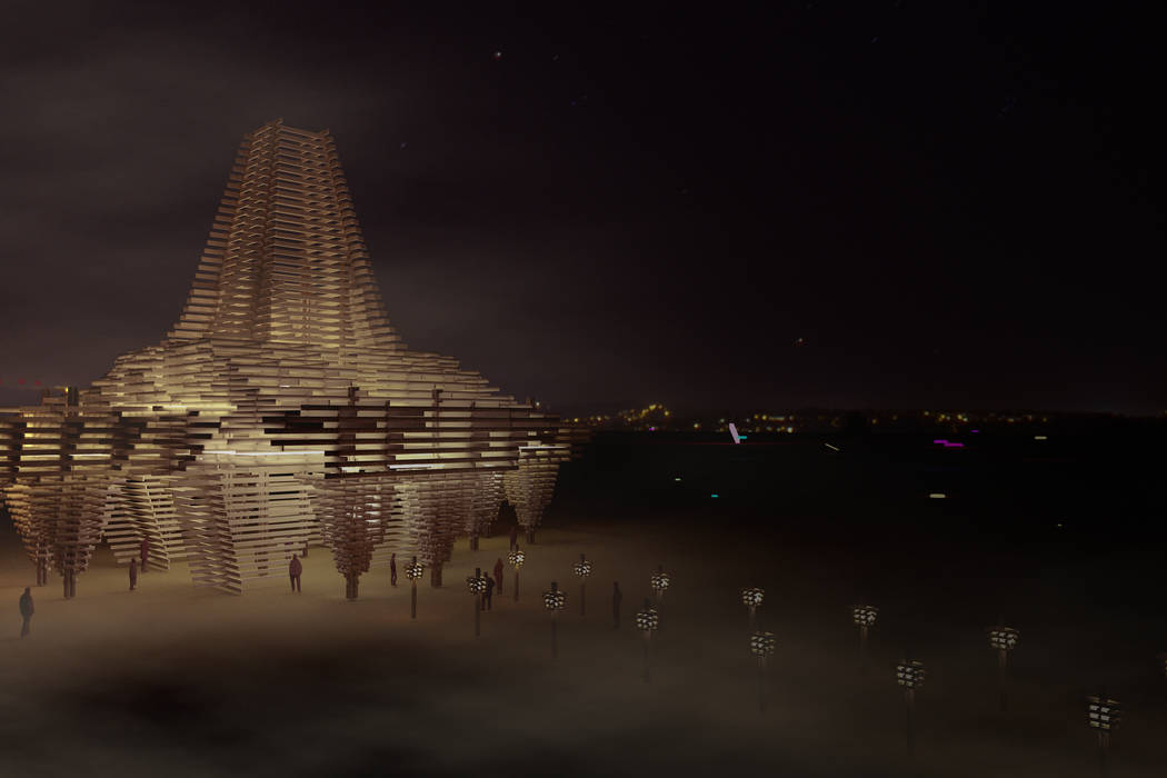 An artist rendering shows a night-time view of the design for this year's Burning Man temple, which is being constructed out of trees killed by recent drought and beetle infestation in the forests ...