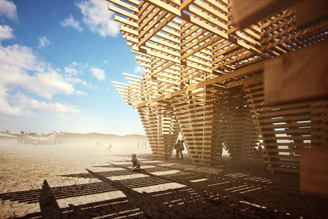 An artist rendering shows the design for this year's Burning Man temple, which will be constructed for next month's festival from trees killed by recent drought and beetle infestation in the fores ...