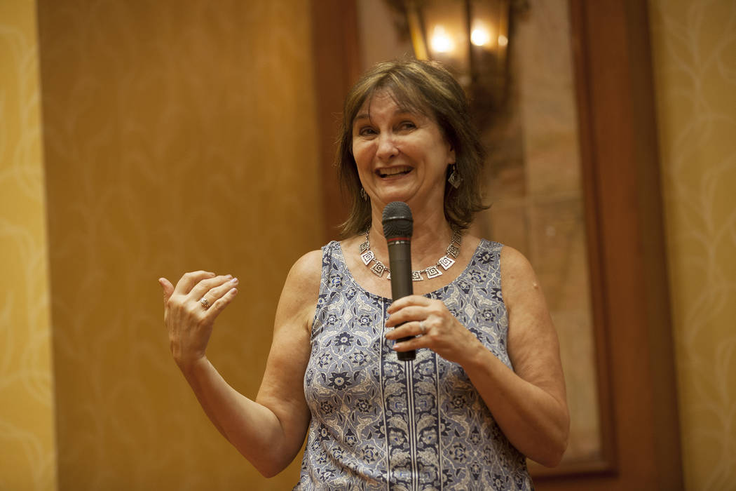 """Linda Lou elaborates on the process of her writing during an event, Painted Stories ҅ndless Summer,"""" on Sunday, July 16, 2017, at the South Point. Rachel Aston Las Vegas Review-Jour ..."""