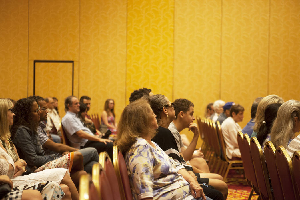 """The audience listens during an event, Painted Stories ҅ndless Summer,"""" on Sunday, July 16, 2017, at the South Point. Rachel Aston Las Vegas Review-Journal @rookie__rae"""