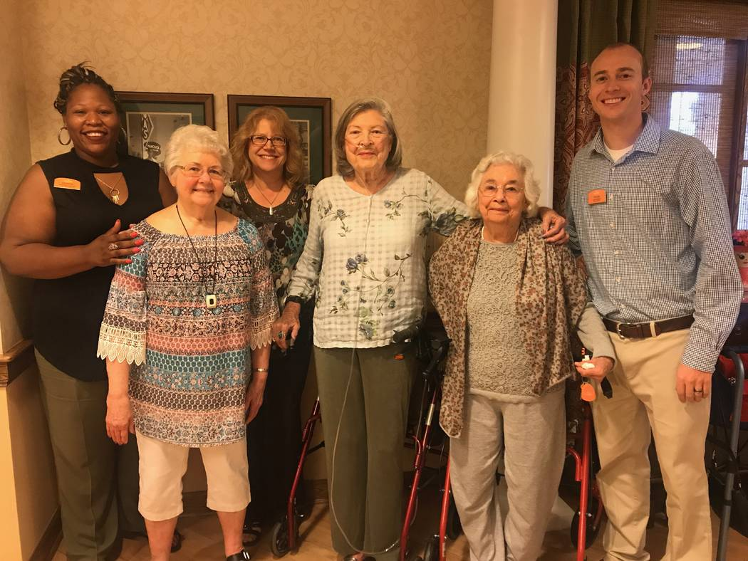 From left, Sunrise Senior Living assisted living coordinator Destini Moore-Hicks, Martha Dungan, Frances Watanabe, Gloria Ogiela and executive director Tyler Johansen stand in kitchen at 1555 W. H ...