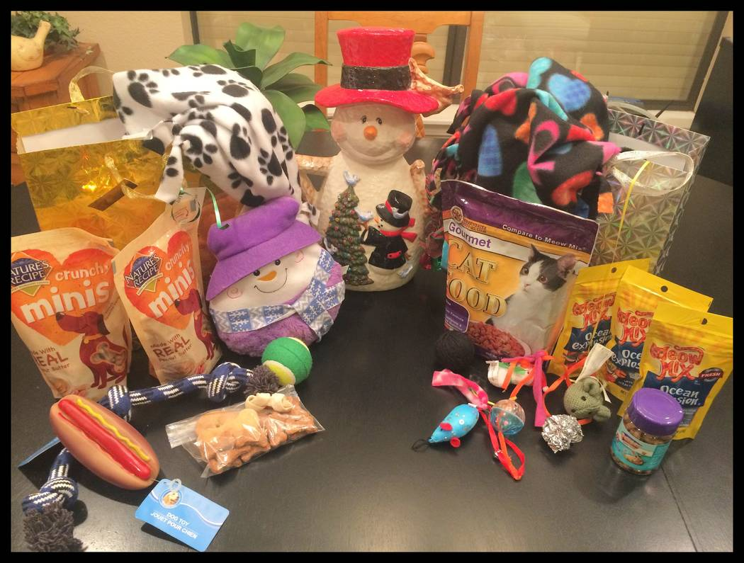 Gail Mayhugh's Seniors to the Rescue volunteers made Christmas gifts to donate to animal rescues. Courtesy of Gail Mayhugh