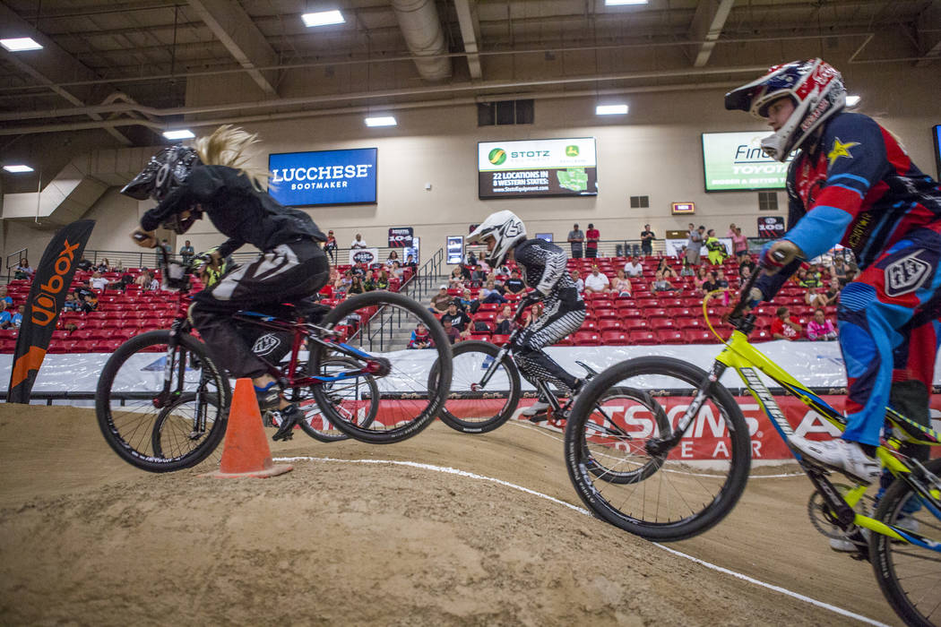 BMX riders cruise over a jump during the USA BMX 2017 Las Vegas Nationals at South Point Arena on Sunday, July 16, 2017.  Patrick Connolly Las Vegas Review-Journal @PConnPie