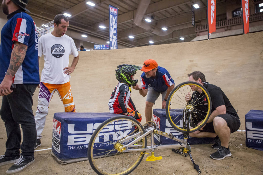 Staff members tend to Arjuna Burgos after he wiped out during the USA BMX 2017 Las Vegas Nationals at South Point Arena on Sunday, July 16, 2017.  Patrick Connolly Las Vegas Review-Journal @PConnPie