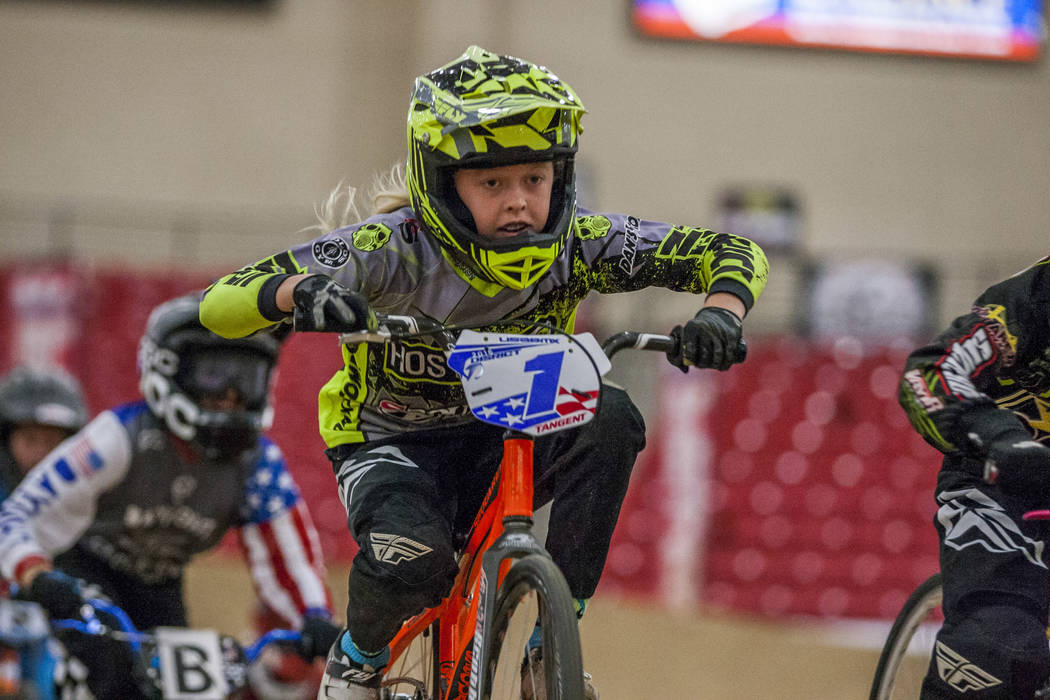 Layne Rowell races forward during the USA BMX 2017 Las Vegas Nationals at South Point Arena on Sunday, July 16, 2017.  Patrick Connolly Las Vegas Review-Journal @PConnPie