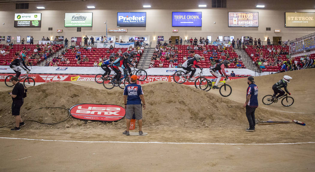 BMX riders zoom through the course during the USA BMX 2017 Las Vegas Nationals at South Point Arena on Sunday, July 16, 2017.  Patrick Connolly Las Vegas Review-Journal @PConnPie