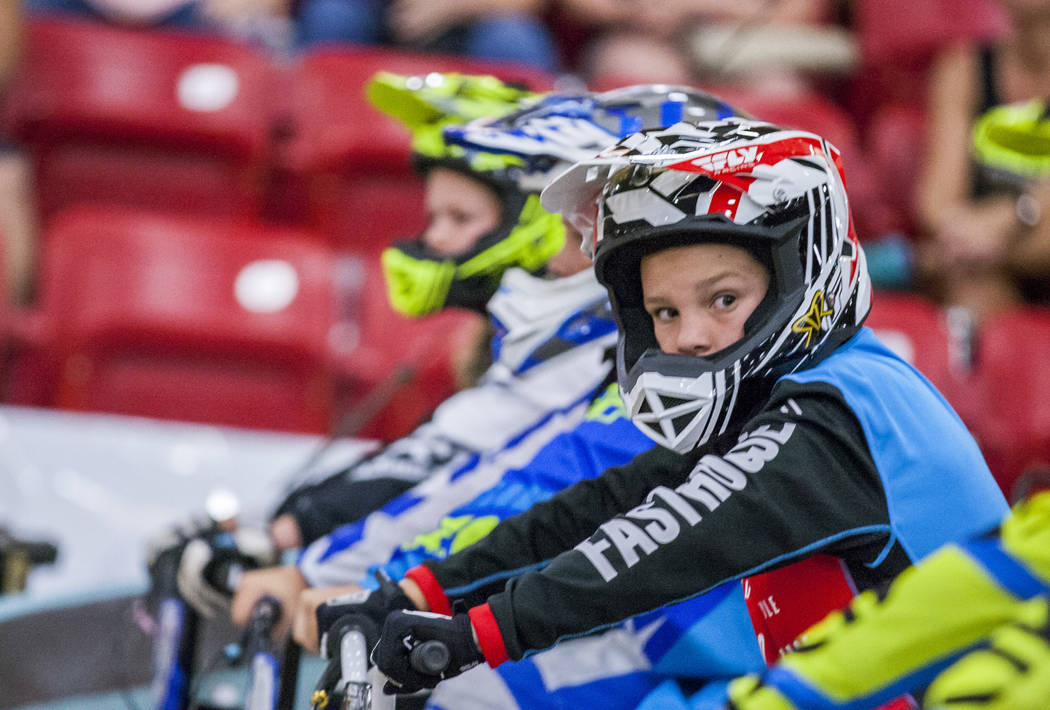 Jack Riggs glances over as the race is about to start during the USA BMX 2017 Las Vegas Nationals at South Point Arena on Sunday, July 16, 2017.  Patrick Connolly Las Vegas Review-Journal @PConnPie