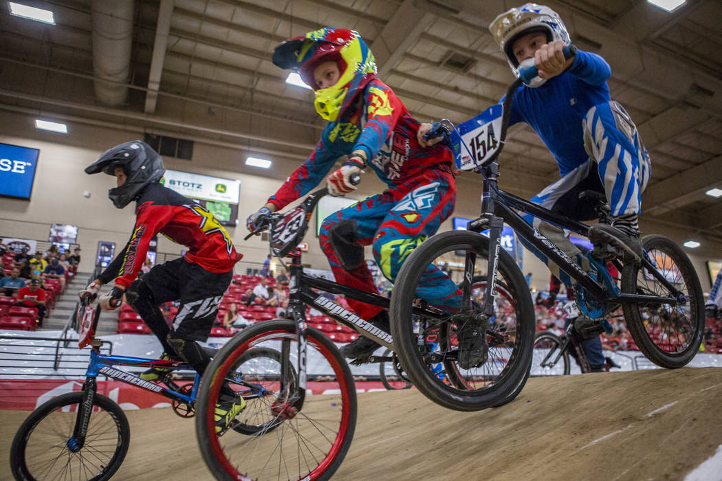Young BMX riders crest a mound during the USA BMX 2017 Las Vegas Nationals at South Point Arena on Sunday, July 16, 2017.  Patrick Connolly Las Vegas Review-Journal @PConnPie