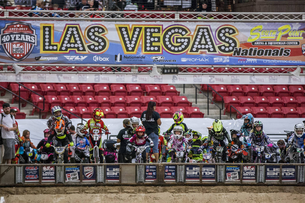 Riders prepare to start during the USA BMX 2017 Las Vegas Nationals at South Point Arena on Sunday, July 16, 2017.  Patrick Connolly Las Vegas Review-Journal @PConnPie