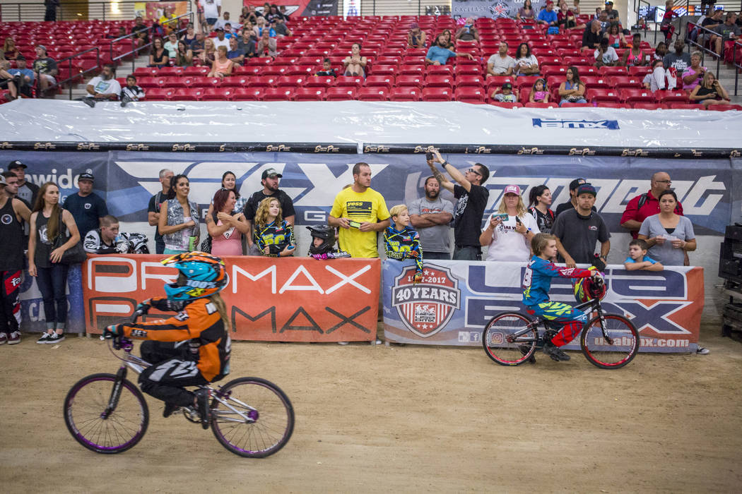 Spectators watch near the finish line during the USA BMX 2017 Las Vegas Nationals at South Point Arena on Sunday, July 16, 2017.  Patrick Connolly Las Vegas Review-Journal @PConnPie