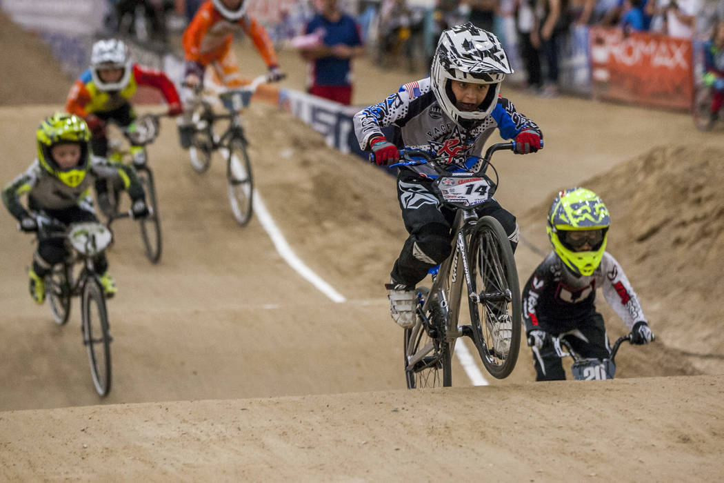 Deisel Prior (14) charges ahead during the USA BMX 2017 Las Vegas Nationals at South Point Arena on Sunday, July 16, 2017.  Patrick Connolly Las Vegas Review-Journal @PConnPie