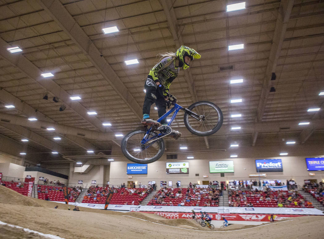 Layne Rowell flies through the air during the USA BMX 2017 Las Vegas Nationals at South Point Arena on Sunday, July 16, 2017.  Patrick Connolly Las Vegas Review-Journal @PConnPie