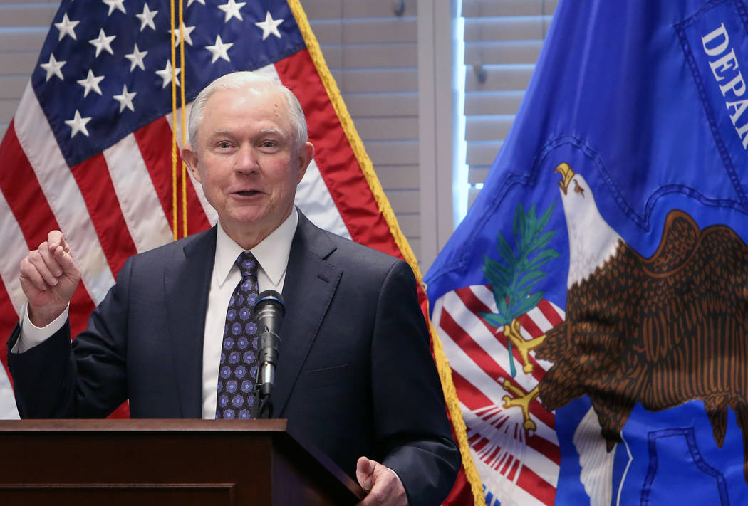 Attorney General Jeff Sessions delivers a speech to federal, state and local law enforcement about sanctuary cities and efforts to combat violent crime on Wednesday, July 11, 2017, in Las Vegas. B ...