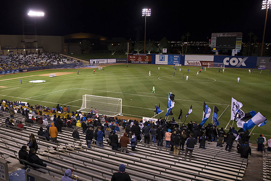 Fans watch the California Clasico men's soccer game between the Los Angeles Galaxy and San Jose Earthquakes at Cashman Field on Saturday, Feb. 11, 2017, in Las Vegas. San Jose won 1-0. (Erik Verdu ...