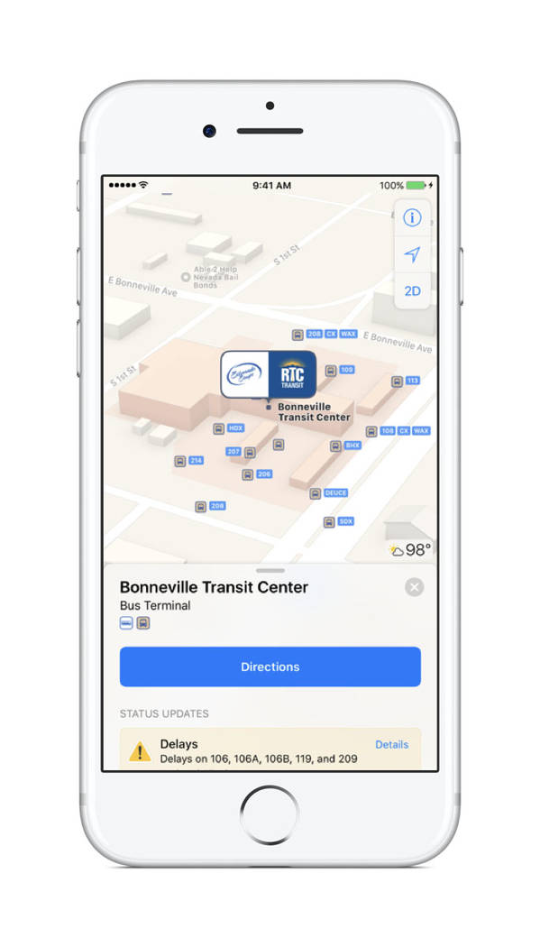 An update to Apple maps allows users in Nevada to see transit options, including  Amtrak, RTC and the Las Vegas Monorail. (Apple)