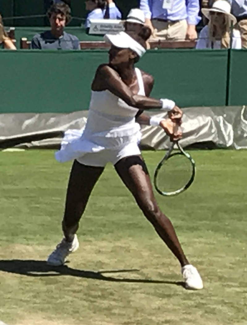 Las Vegan Asia Muhammad during her first-round women's doubles match on July 5 on Court No. 4 at Wimbledon. She and Taylor Townsend lost to Lucie Hradecka and Katerina Siniakova 6-4, 7-6 (6). (Ste ...