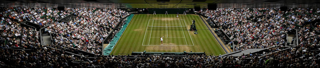 Tennis - Wimbledon - London, Britain - July 13, 2017   General view on centre court of Slovakia's Magdalena Rybarikova in action during her semi final match against Spain's Garbine M ...