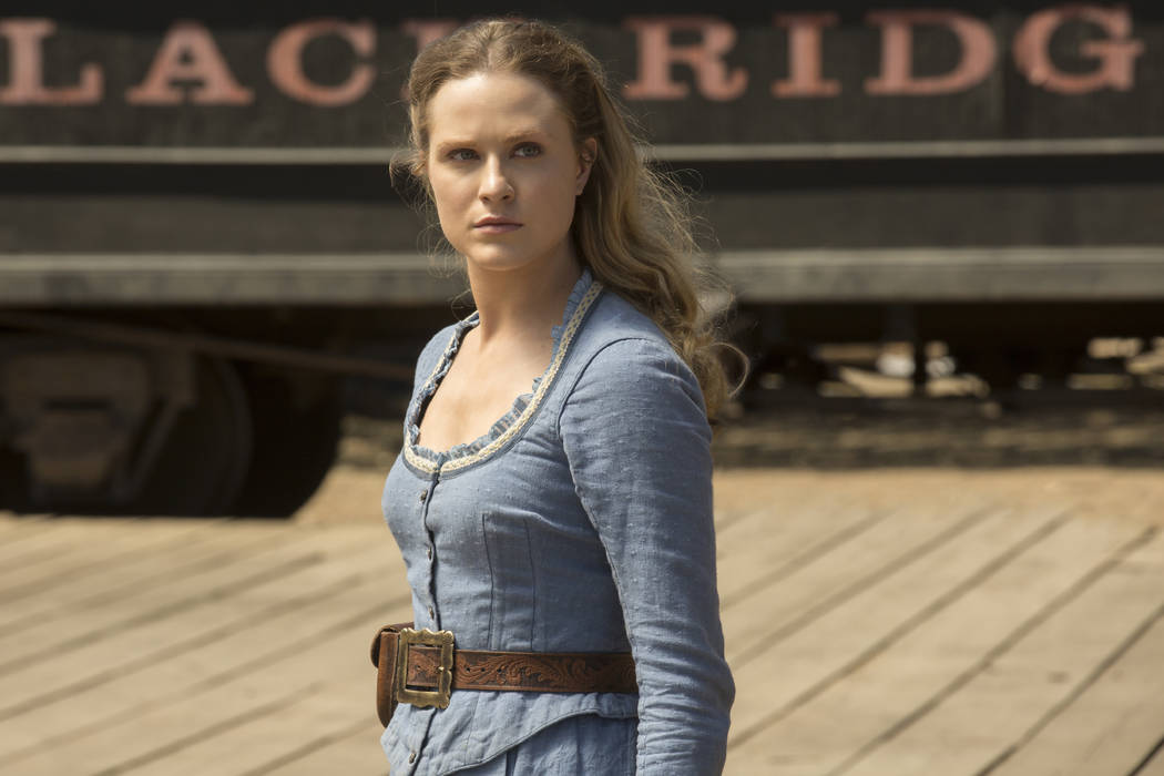 """Evan Rachel Wood in a scene from """"Westworld."""" Wood was nominated for an Emmy Award for outstanding lead actress in a drama series on Thursday, July 13, 2017. (John P. Johnson/HBO via AP)"""