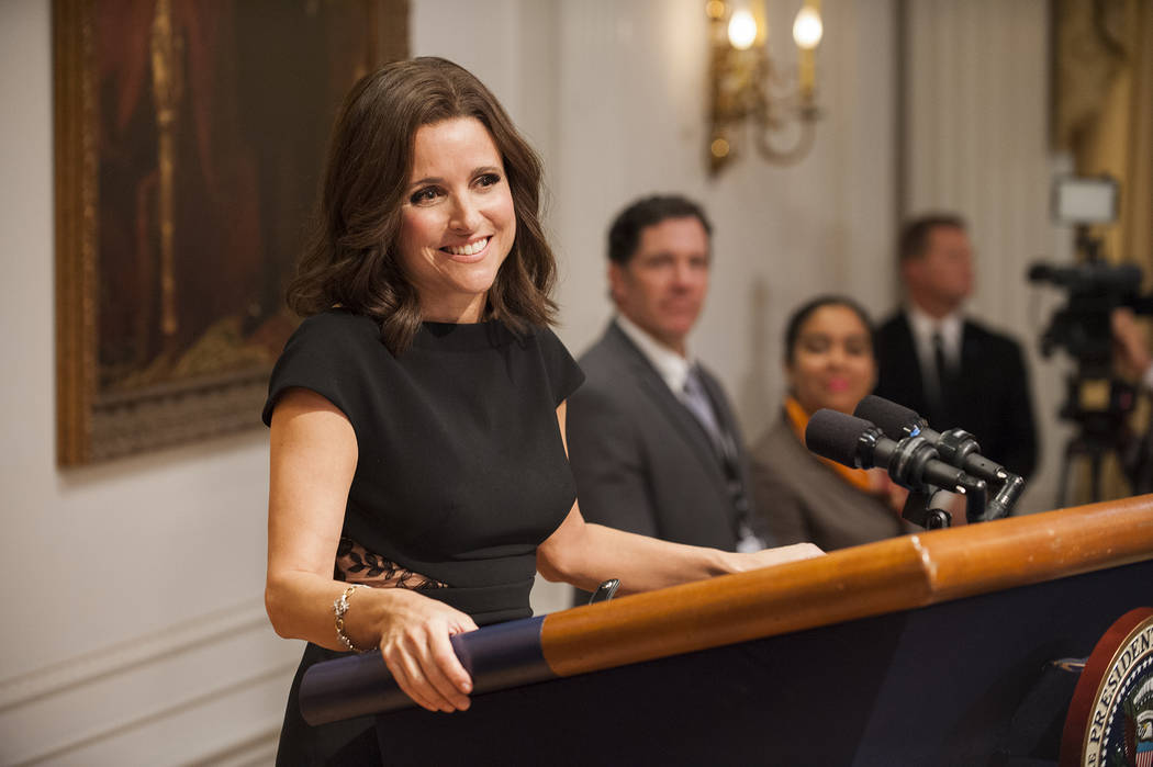 """This image released by HBO shows Julia Louis-Dreyfus in """"Veep."""" Louis-Dreyfus was nominated for an Emmy Award for outstanding lead actress in a comedy series on Thursday, July 13, 2017. (Colleen H ..."""
