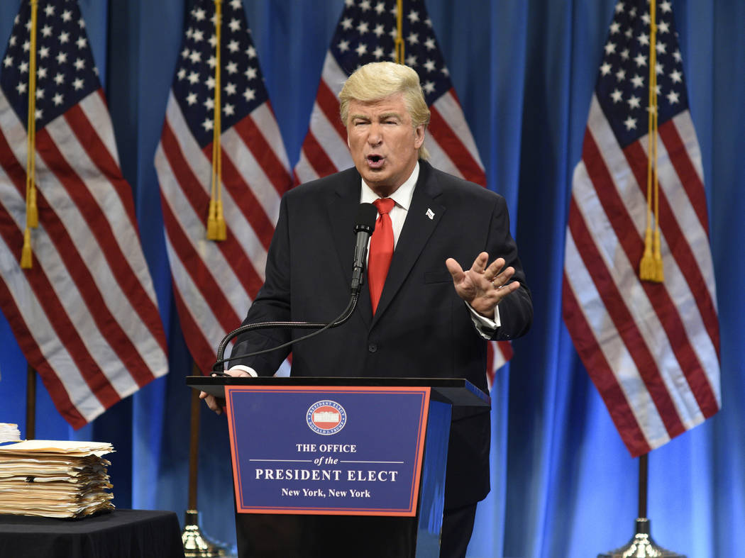 """Alec Baldwin as President-elect Donald J. Trump in a sketch on """"Saturday Night Live,"""" in New York, Jan. 14, 2017.  Baldwin was nominated for an Emmy Award for outstanding supporting actor in a com ..."""
