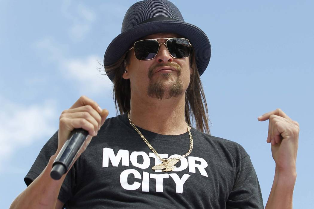 In this Feb. 22, 2015 file photo, Kid Rock performs at Daytona International Speedway in Daytona Beach, Fla. The musician from suburban Detroit is saying that a website hinting at his campaign — ...