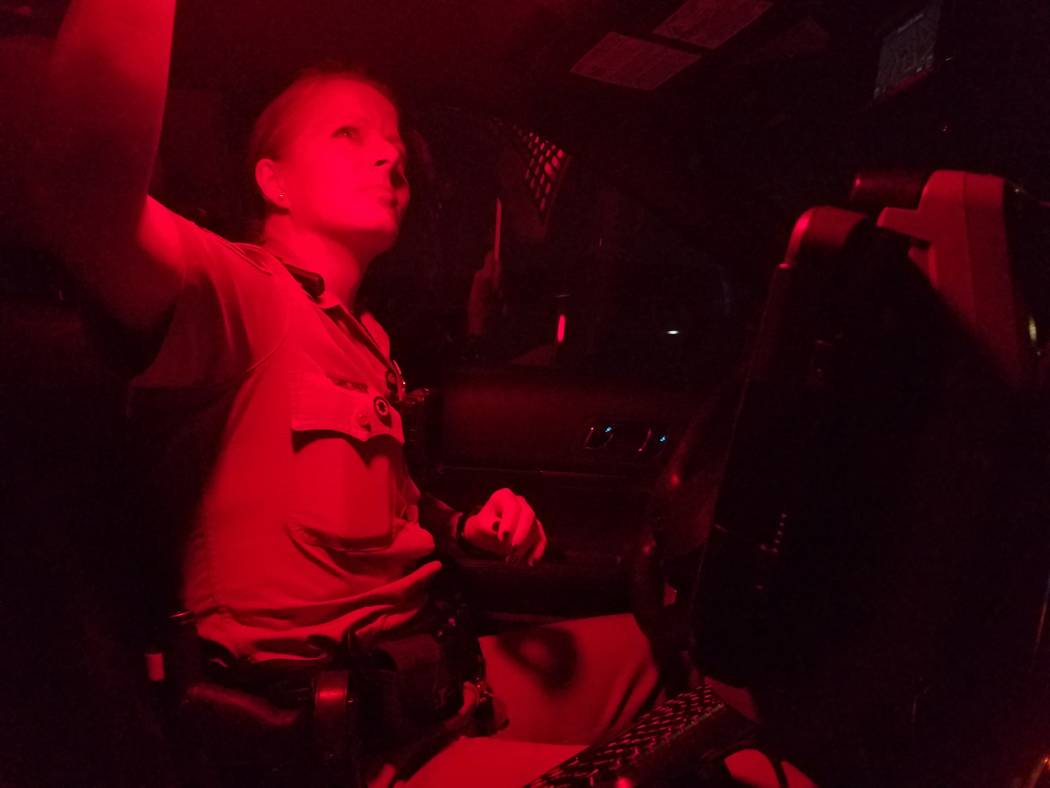 Metropolitan Police Department officers respond to a call during a ride-along Wednesday night, July 12, 2017, into Thursday morning, July 13, 2017, in Las Vegas. Mike Shoro Las Vegas Review-Journal