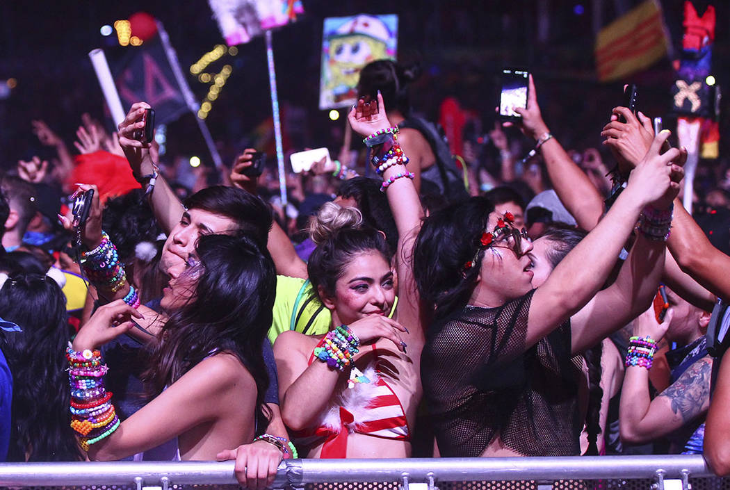 Fans dance during the last day of the Electric Daisy Carnival at the Las Vegas Motor Speedway on Monday, June 19, 2017. (Chase Stevens Las Vegas Review-Journal)