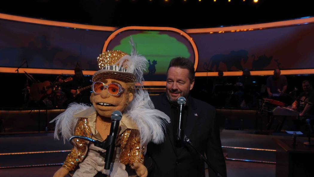 Terry Fator debuts his new Elton John puppet in his show at The Mirage. (Courtesy)