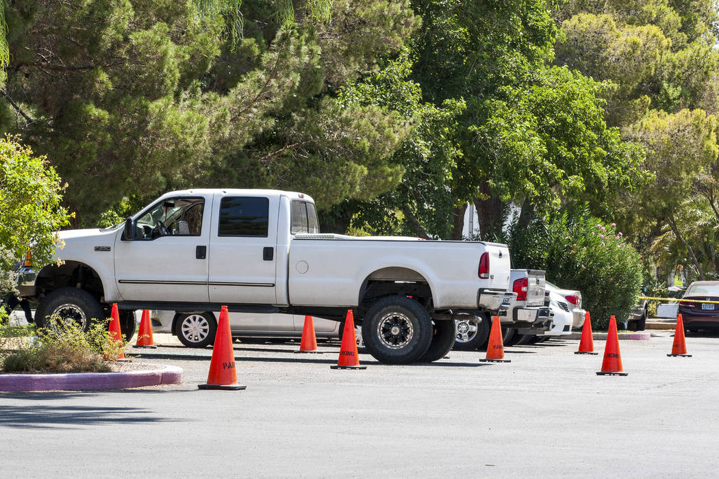 The truck in which a woman and her 11-year-old daughter were shot at on the campus of UNLV on Thursday, July 13, 2017.  Patrick Connolly Las Vegas Review-Journal @PConnPie